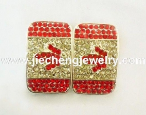 China JF2209 Crystal Pave Canada Flag Charms Connectors on sale