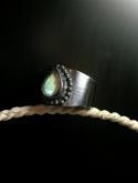China Artisan Crafted OXIDIZED Medieval Style Wide Band Faceted Moonstone Sterling Silver Ring on sale