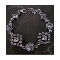 Artisan Crafted Faceted Vintage Style AAA White Topaz and Sterling Silver Gemstone Bracelet
