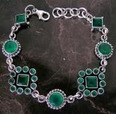 China Artisan Crafted Faceted AAA GREEN Onyx and Sterling Silver Gemstone Bracelet on sale
