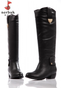 China Not special Serbak woman's boots, sexy black simple knee-high boots, low heel chunky heel on sale