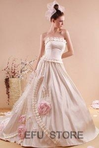 China Ivory/Pink/purple strapless wedding dress bridal gown RW05 on sale