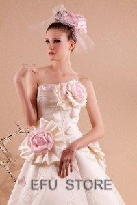 China Ivory/Pink/purple strapless wedding dress bridal gown RW04 on sale