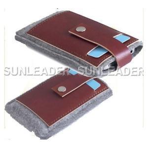 China leather accessaries 106201-Grey wool felt Iphone sleeve on sale