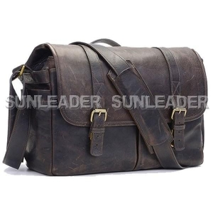 China Functional Bags 108417-Vintage style light wax finish leather laptop bag camera case on sale