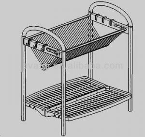 China Kitchen Organizers New style folding kitchen dish rack with plastic tray on sale