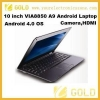 China Newest 10 inch android 4.0 mini netbook for sale