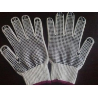 natural white cotton glove with pvc dotts