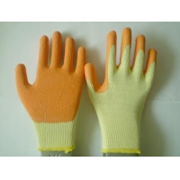 yellow T/C liner with orange latex coated gloves