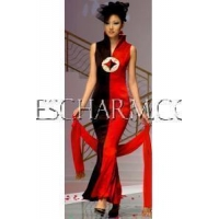Chinese Wedding Dress Red&Black Fortune Fish Tail Dress