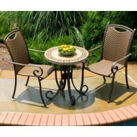 China Patio Furniture Stonewick Wicker 3 Piece Bistro Set with Armchair on sale