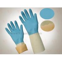 China Household Latex Gloves Blue&White Household Gloves on sale