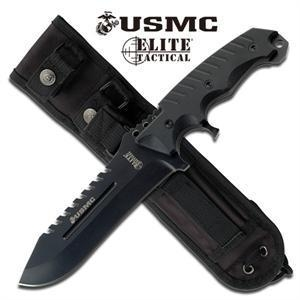 China US Marines Black Fixed Blade Tactical Knife - Ti Blade G10 Handle on sale
