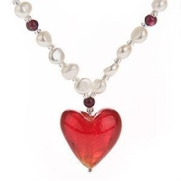 China White Pearls & Garnet Necklace with Red Venetian Murano Glass Heart Pendant on sale
