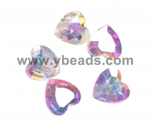 China 100pcs Crystal Heart Stone,12*12mm,Crystal AB on sale