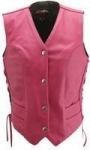 Women's Hot Pink Leather Vest #HS306HP