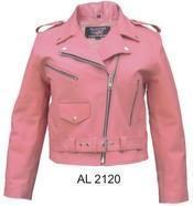China Ladies Pink Basic full cut Motorcycle jacket #AL2120 on sale