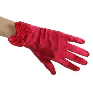 China Ruby Red Shiny Satin Wrist Length Gloves with Gathered Beaded Bow on sale