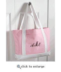 China Pink and White Custom Canvas Tote Bag on sale