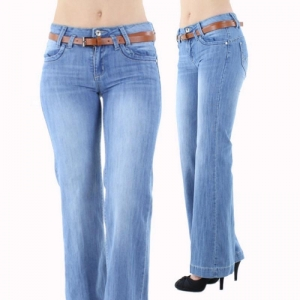 China K558 Sexy Ladies Faded 70s Style Indie Kick Flare Jeans on sale