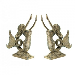 China Cast Iron Mermaid Bookend Set With Gold Finish on sale
