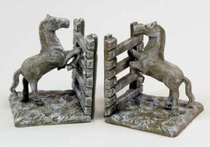 China White Washed Cast Iron Horse Fence Bookends on sale