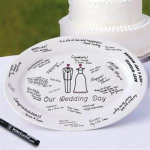 China Wedding Day Guest Book Platter w Porcelain Marker on sale
