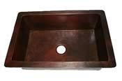 China CK-3322SB Hand Hammered Single Bowl Copper Kitchen Sink Undermount or Drop In- 16 Gauge on sale