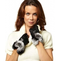 China Women's Italian Rex Rabbit Fur Cuff Cashmere Lined Winter Leather Gloves on sale