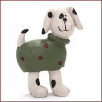 Blossom Bucket DOG In Spotted Sweater Christmas Figurine