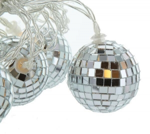 China Battery Operated LED Mirror Disco Ball String Light Set of 10 - Timer on sale