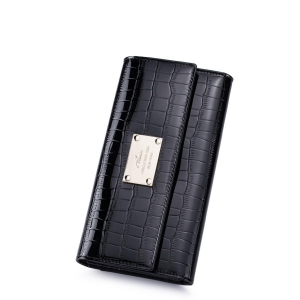 China NUCELLE Leather Checkbook Clutch Bag Wallet Crocodile Black on sale