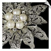 China EC-Vintage Antique Silver and Rhinestone & Diamond White Pearl Bridal Brooch 38 on sale