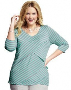China Tops & Tees JMS 3/4-Sleeve Crossover Striped Women's TopMint Green/Grey on sale