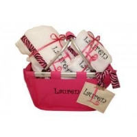 Girls off to college Hot Pink Market Tote Personalized gift set