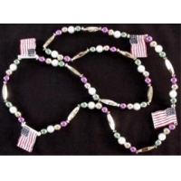 42 Inch American Flag with Mardi Gras Color Beads