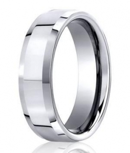 China Men's Cobalt Wedding Ring with Polished Finish and Beveled Edge | 7mm - MBCB1005 on sale
