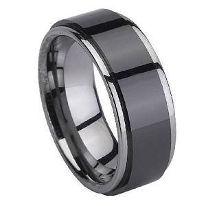 China Black Ceramic Coated Men's Tungsten Ring with Polished Edges  8mm - MTGC0044 on sale