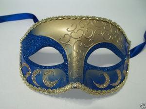 China MASKS BLUE GOLD Elegant Crescent Glitter VENETIAN half JESTER masquerade Mask on sale