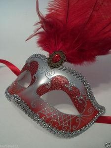China MASKS RED SILVER VENETIAN MASK FEATHER MASQUERADE MARDI GRAS 12 on sale