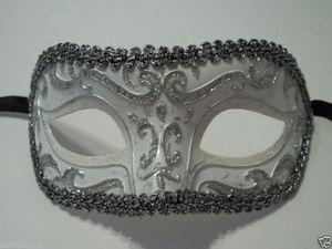 China MASKS White Silver Exquisite Venetian Mardi Gras Masquerade Mask Free Shipping on sale