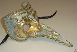 China MASKS Off White Antique Long Nose Bird Mardi Gras Masquerade Venetian Mask Zanni on sale
