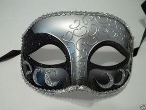 China MASKS SILVER Gray BLACK Elegant Crescent Glitter VENETIAN half JESTER masquerade Mask on sale