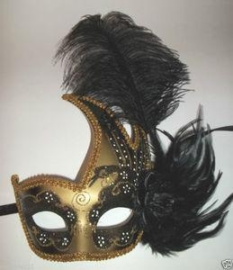 China MASKS Black Gold Rose Mardi Gras Feather Masquerade Mask Dance Prom Ball Halloween on sale