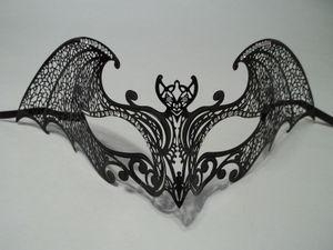 China MASKS Black Gothic Bat Laser Cut Venetian Mask Masquerade Metal Filigree Halloween on sale