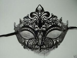 China MASKS Black Laser Cut Venetian Mask Masquerade Ball Prom Metal Filigree on sale