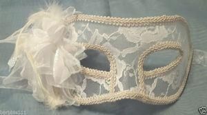 China MASKS WHITE LACE AND FLOWER SHEER MARDI GRAS MASQUERADE MASK on sale
