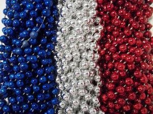 China 36 RED SILVER BLUE MARDI GRAS BEADS PATRIOTS GIANTS FREE SHIPPING SUPERBOWL on sale