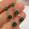 China Green Old Jade Jadeite Diamond 18k White Gold Earrings for sale