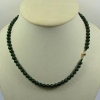 China Dark Green Jade Bead Necklace 18k Yellow Gold Natural Jadeite 7mm for sale